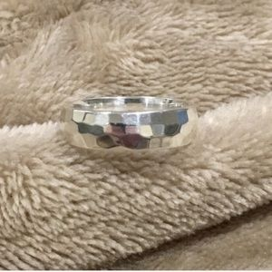 Sterling Silver 925 Hammer Finished Ring Size 7